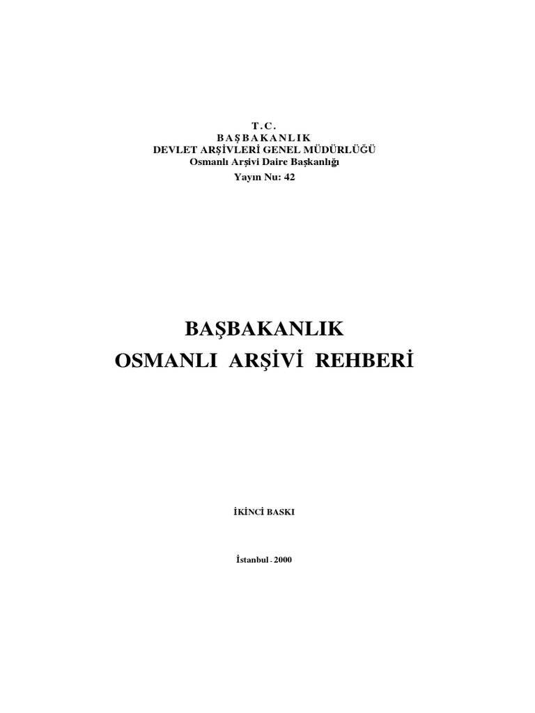 Başbakanlik Osmanli Arşivi Rehberipdf