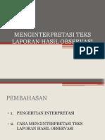 Menginterpretasi Teks Laporan Hasil Observasi