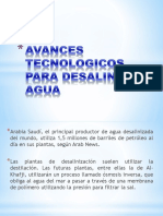 Avances Tecnologicos Para Desalinizar Agua