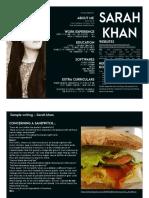 Sarah Khan - Food Resume