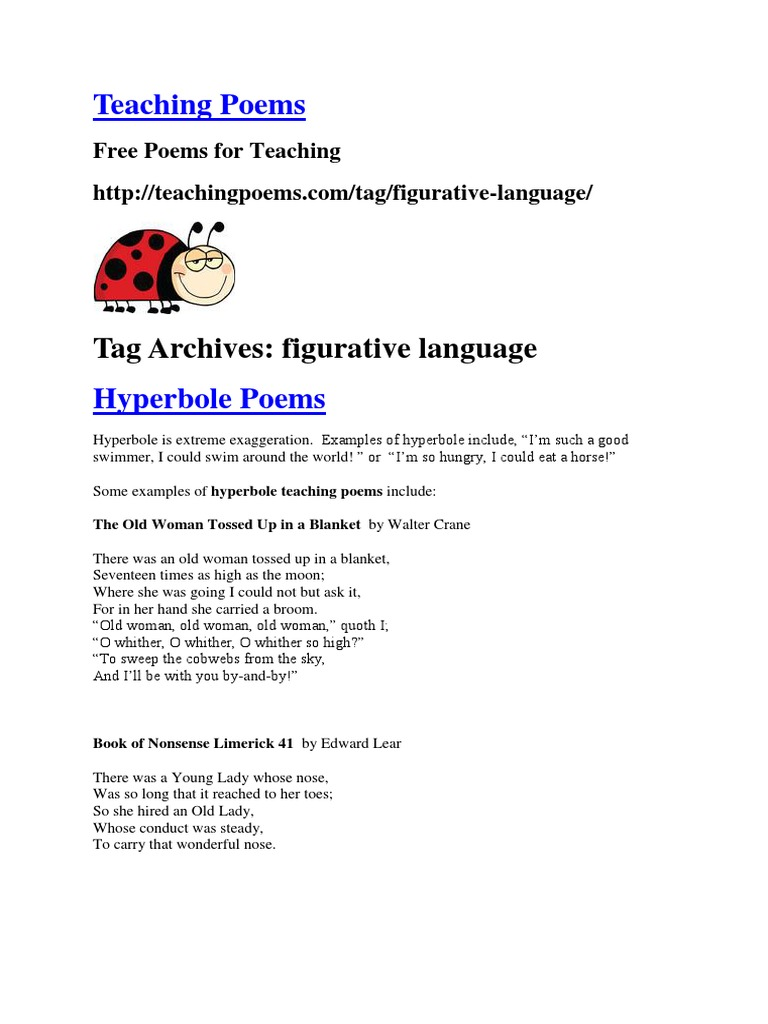 Teaching Poems Figurative Language Limerick Poetry