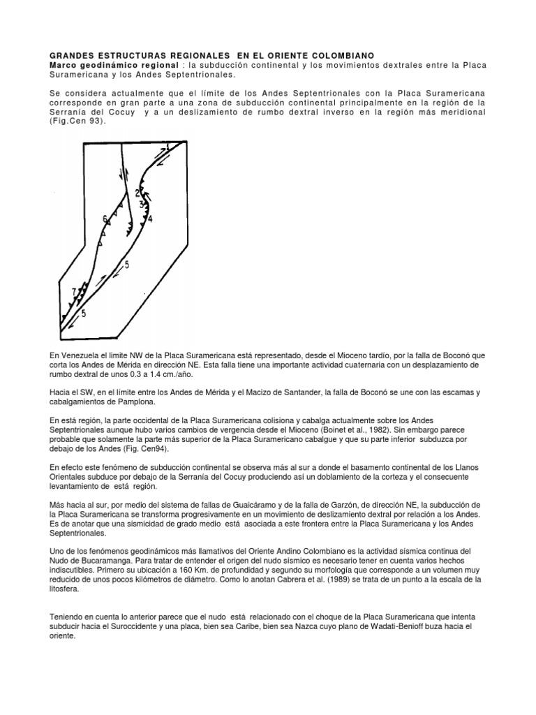 Grandes Estructuras Regionales en El Oriente Colombiano