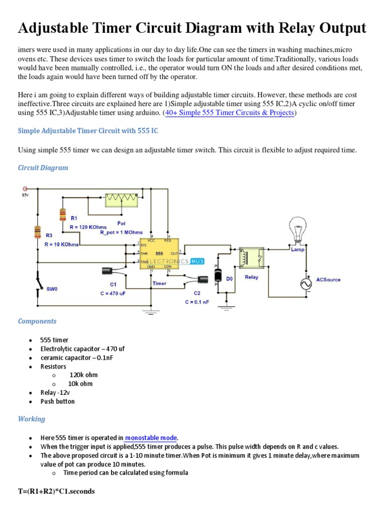 Adjustable Timer Circuit Diagram With Relay Output Relay - On Off Relay Timer Circuit