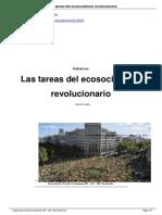 Tanuro, Daniel. Las Tareas Del Ecosocialismo Revolucionario