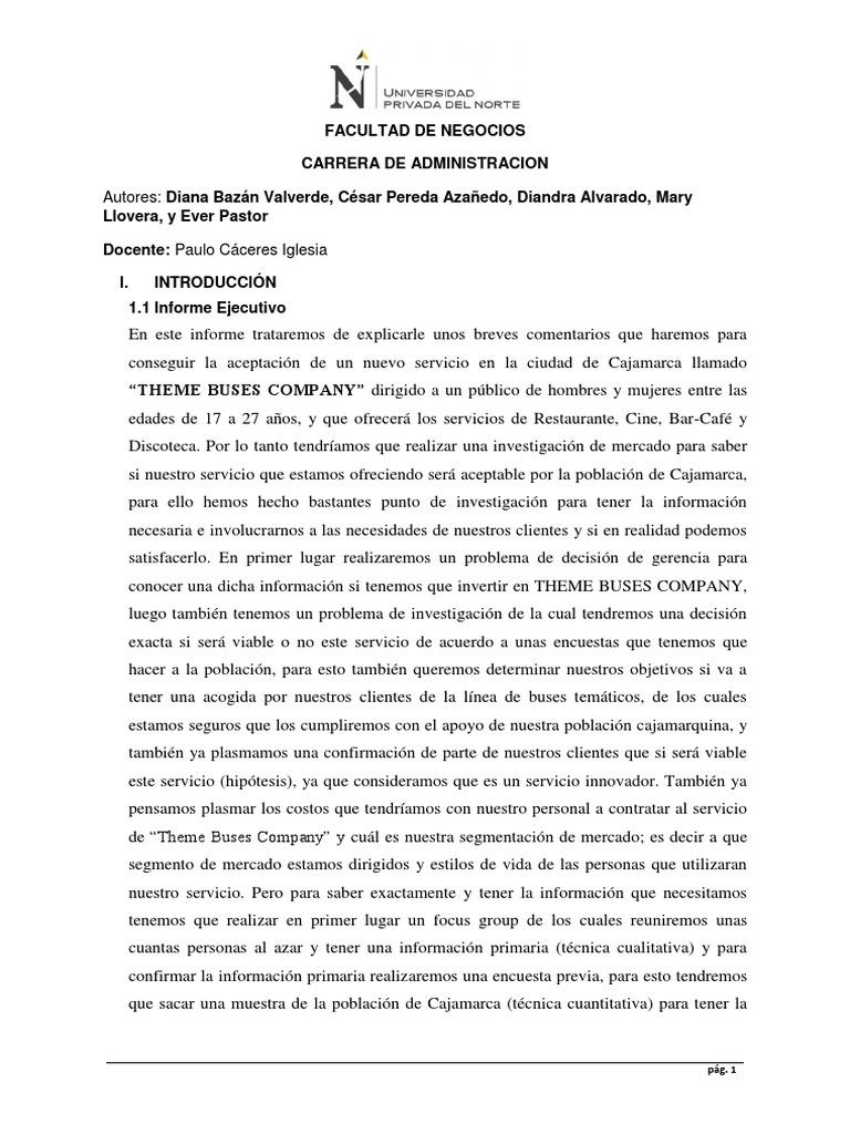 Investigacion de Mercado Para Montar Un Restaurante Bar en ...