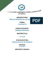Actividad Vi Etica Profesional de Los Docente Eridania Martinez