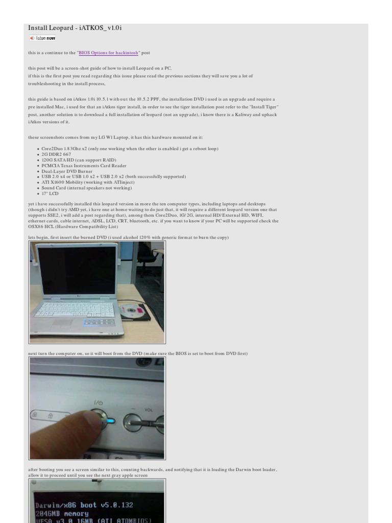 Install Leopard-iATKOS v1 0i | Booting | Personal Computing