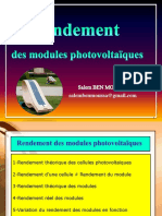 Rendement Des Modules Photovoltaïques