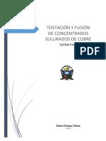 Tostación y Fusión de Concentrados Sulfurados de Cobre