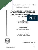 Evaluación de Un Proyecto de Inversión Para La Creación de Una Empresa de Manufactura de Pintura