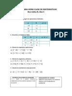 Tareas Para Hora Clase de Matematicas