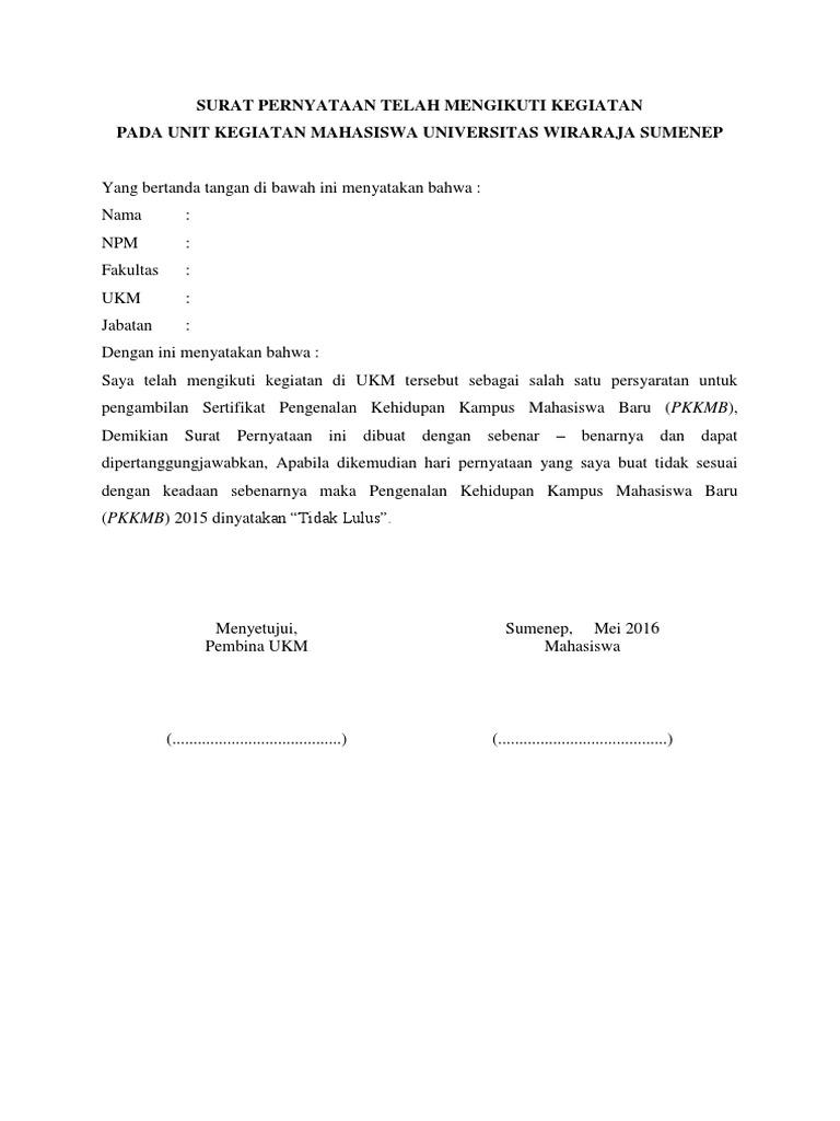 Surat Pernyataan Telah Mengikuti Kegiatan