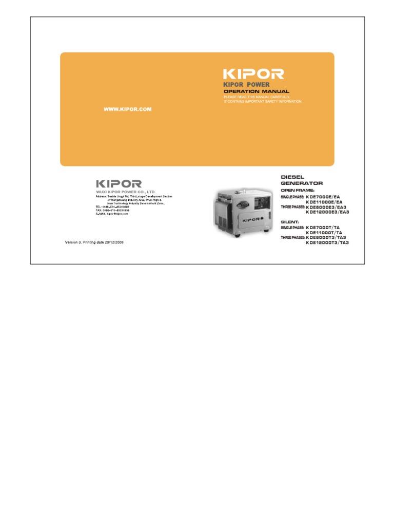 Kipor Diesel Generator KDE7000T_EN_ pdf   Electric Generator