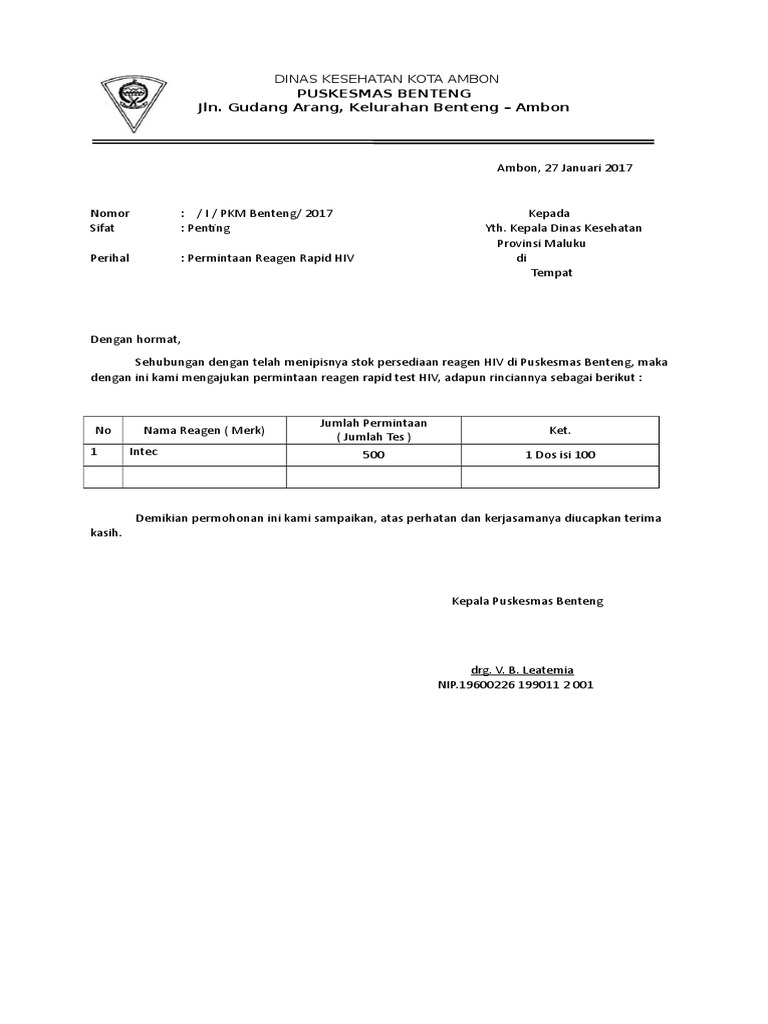 Contoh Surat Permintaan Reagen Logistik Docx