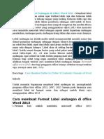 Cara Membuat Label Undangan Di Office Word 2013