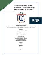 """Derecho Laboral II - """"LAS ORGANIZACIONES SINDICALES EN LA LEGISLACIÓN PERUANA"""""""