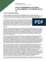 El Movimiento de Los Trabajadores Sin Tierra Mst Del Brasil Sus Orc3adgenes y El Carc3a1cter de Su Lucha Tierra Viva
