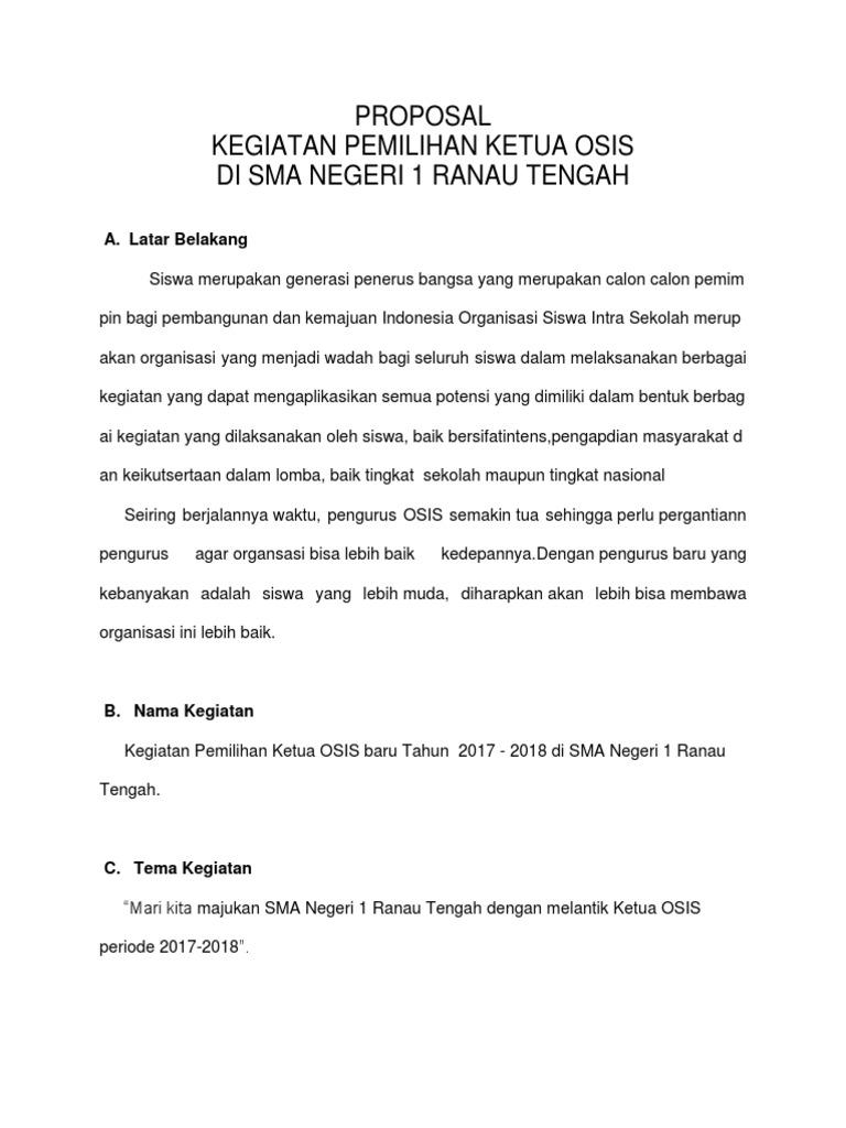 Proposal Pemilihan Ketua Osis 2017 2018