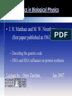 Deciphering the Genetic Code (Nirenberg)