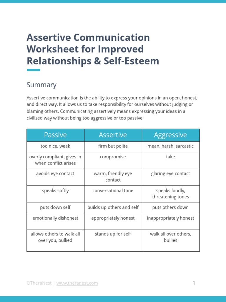 worksheet Assertiveness Training Worksheets assertive communication worksheet pdf