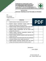 Daftar Tilik Permintaan Pemeriksaan, Penerimaan Dan Pengambilan Spesimen
