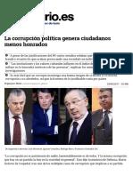 La Corrupción Política Genera Ciudadanos Menos Honrados
