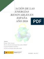 Situación de Las EERR en España. Año 2016