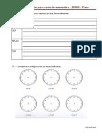 Ficha de Preparação Para o Teste de Matemática Junho