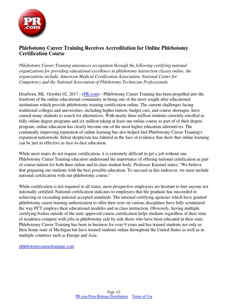 Phlebotomy career training receives accreditation for online phlebotomy career training receives accreditation for online phlebotomy certification course distance education professional certification 1betcityfo Choice Image