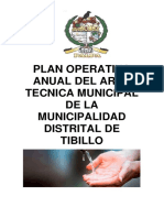 Plan Operativo Anual Del Area Tecnica Municipal - Mdt