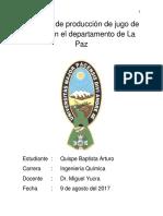 Quispe Baptista Arturo Proyecto de Produccion de Jugo de Sabila