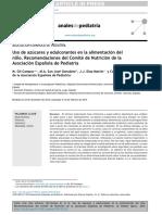 Uso de azúcares y edulcorantes en la alimentación del niño. Recomendaciones del Comité de Nutrición de la Asociación Española de Pediatría.pdf