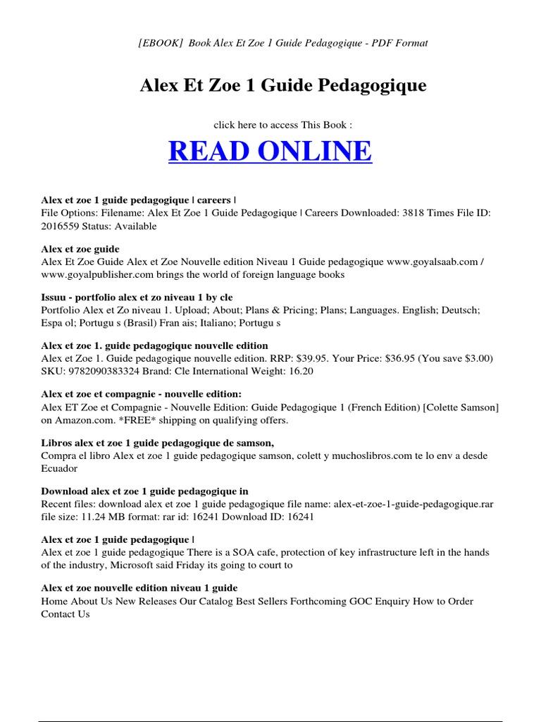 alex et zoe 1 guide pedagogique