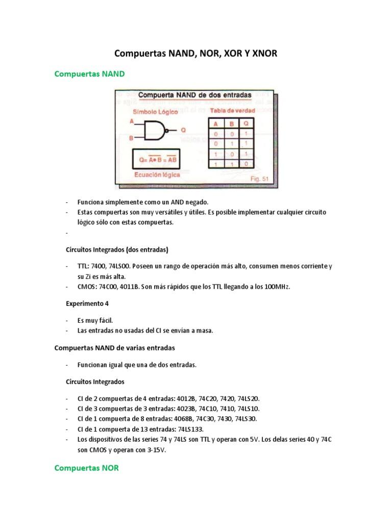 Circuito Integrado Xnor : Compuertas nand nor xor y xnor docx