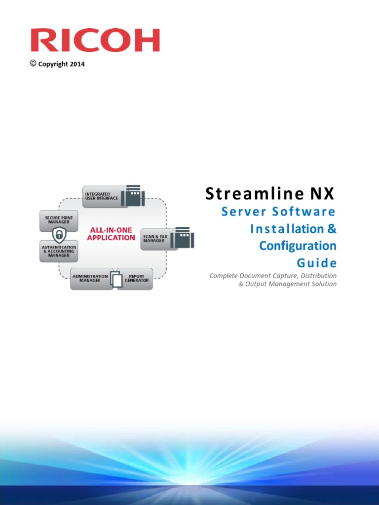 RICOH Streamline NX Install & Config Guide | Hyper V | Share Point