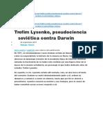 Trofim Lysenko, Pseudociencia Soviética Contra Darwin
