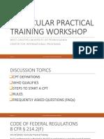 Curricular Practical Training Workshop