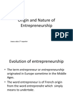 Origin and Nature of Entrepreneurship
