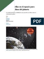 Dos Sombrillas en El Espacio Para Enfriar El Clima Del Planeta