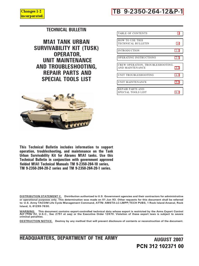Tb 9 2350 264 12p 1 M1a1 Abrams Tank Urban Survivability Kit Automotive Diagnostic Tools Multifunction Circuit Test Cables Mst Tusk Carbon Monoxide Radioactive Contamination
