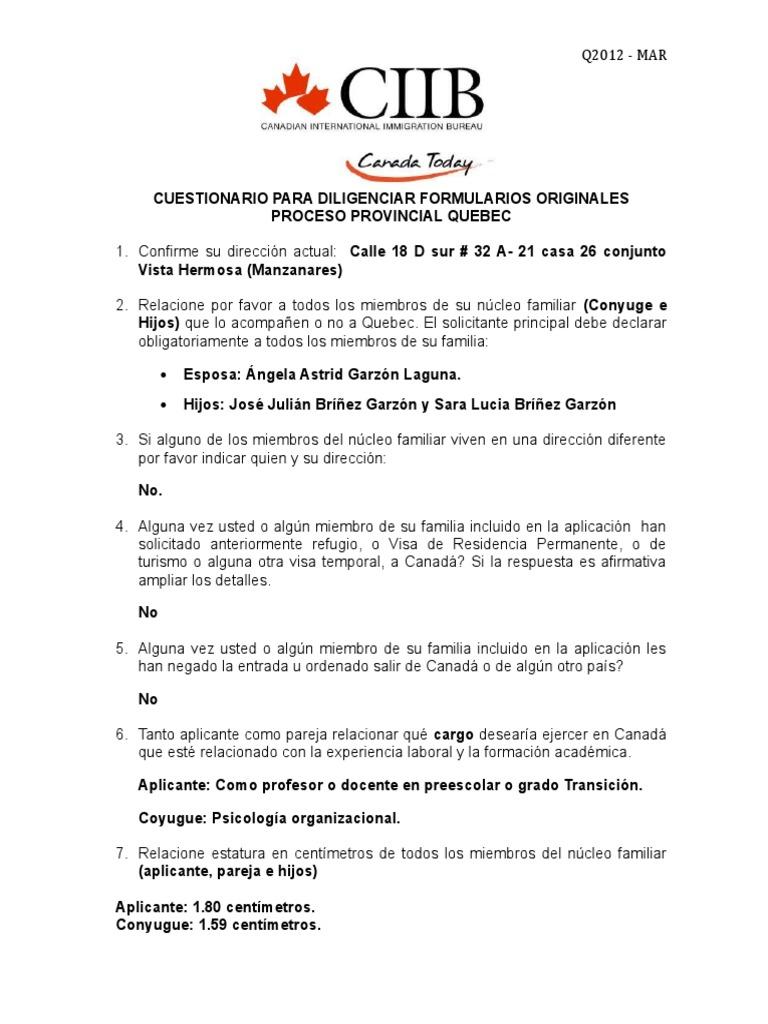 Cuestionario Para Diligenciar Quebec