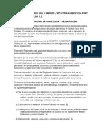 Reglamento Interno de La Empresa Industria Alimenticia