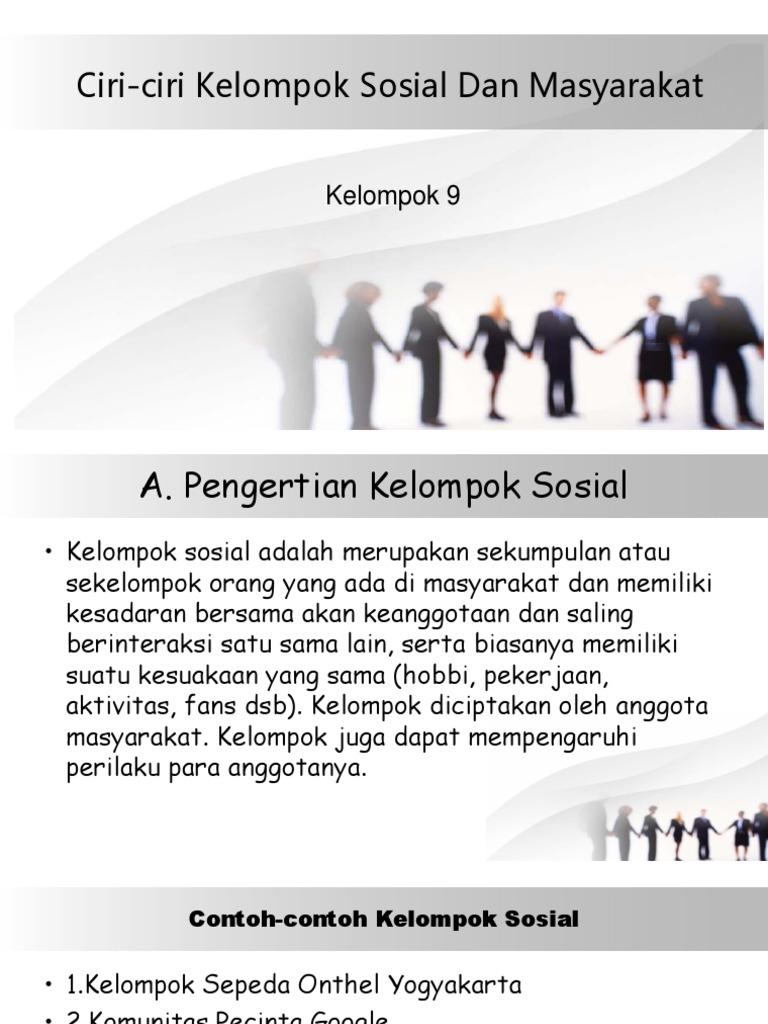Ciri Ciri Kelompok Sosial Dan Masyarakat