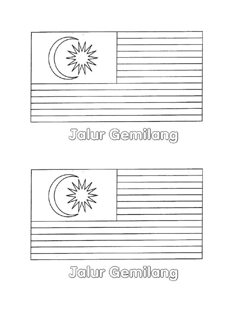Lukisan Bendera Malaysia Hitam Putih