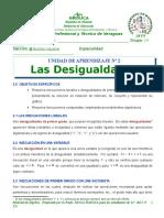 UNIDAD N°2 LAS DESIGUALDADES LINEALES, 7 DE ABRIL DE  2015