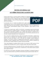 Accordo - 04 Agosto 2010 -- Comunicato Lazio, Segreteria e RSU