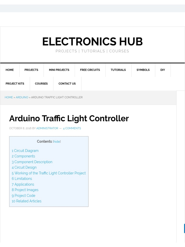 Arduino Traffic Light Controller Emitting Diode To Electronics Mini Projects Circuits