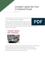 Berbagai Kerusakan Laptop Dan Cara Memperbaiki Notebook Rusak