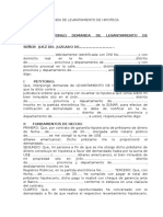 Modelo de Demanda de Levantamiento de Hipoteca. 2017.