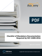 Checklist of Mandatory Documentation Required by Iso 13485 2016 En